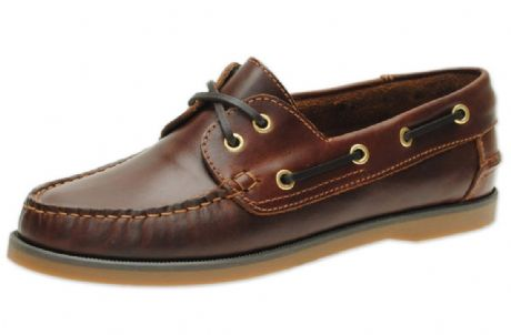 Jim Boomba Leather Boat Shoes / Deck Shoes  - Mahogany Brown